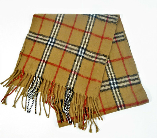 """100% Cashmere Scarf Brown Plaid Hand Tailored 12"""" W x 54"""" L"""