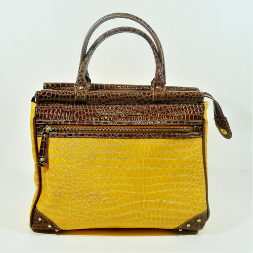 Samantha Brown Yellow/Brown Croco Embossed PVC Carry-On Luggage Tote