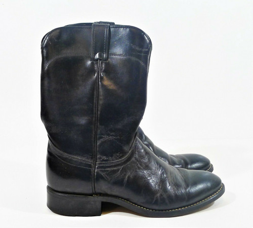 Laredo Men's Black Leather Vamp Ropers Cowboy Boots Size 8D - Style 7902