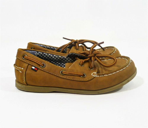 Tommy Hilfiger Youth Boy's Brown Douglas Boat Shoes Loafers Size 13