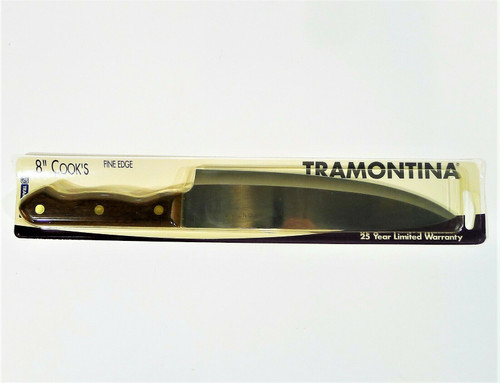 "Tramontina 8"" Cooks Knife Fine Edge Inox-Stainless Brasil Wood Handle - NEW"