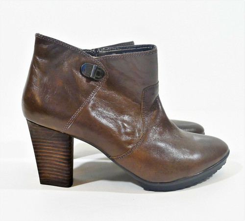 Easy Spirit Women's Brown Kassandra Leather Heel Ankle Boot Inside Zip Size 10 M