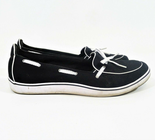 Grasshoppers Women's Black Windham Slip On Loafer Flats Boat Shoes Size 9.5 M