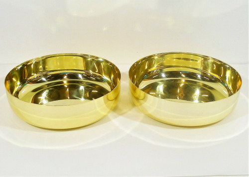 "Set of 2 CB2 Porter Gold Low Serving Bowls 10"" Dia. x 3"" H  **SCRATCHES"