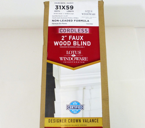 "Lotus & Windoware 2"" Faux Wood Cordless Blind  31x59  NEW"
