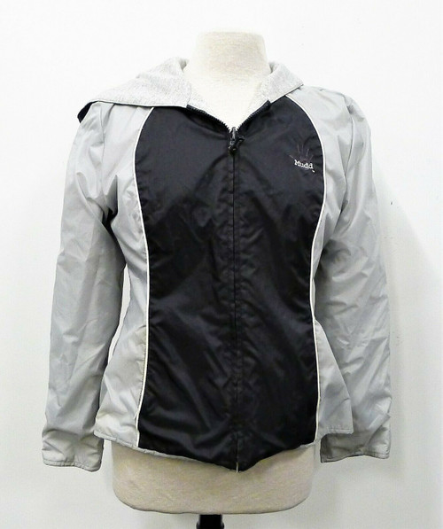 Mudd Outerwear Women's Black/Gray Reversible Hooded Jacket Size L **DIRT/STAINS