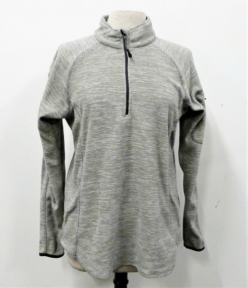 BCG Women's Gray Pull Over 1/4 Zip Long Sleeve Shirt Size L