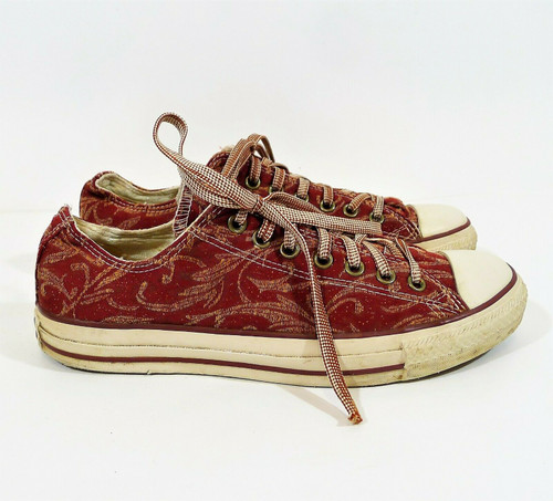 Converse Maroon Tapestry All Star Low Top Shoes Men's 9 Women's 11 - 1V425