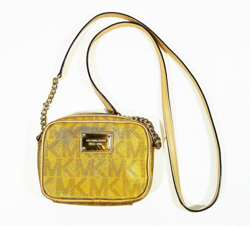 Michael Kors Gold Small Crossbody Purse with Chain Strap