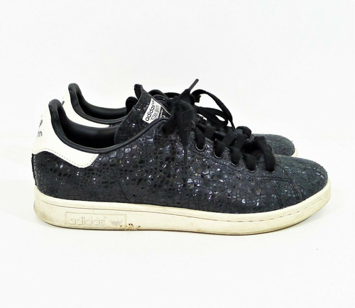Adidas Women's Black Embossed Stan Smith Low Top Tennis Shoes Size 8 S77344
