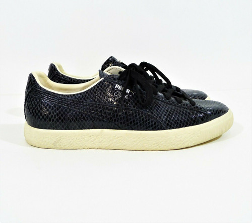 Puma Men's Black The Clyde Black Snake Embossed Leather Sneakers Shoes Size 7.5