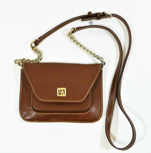 Dooney & Bourke Brown Canvas Crossbody with Chain Strap