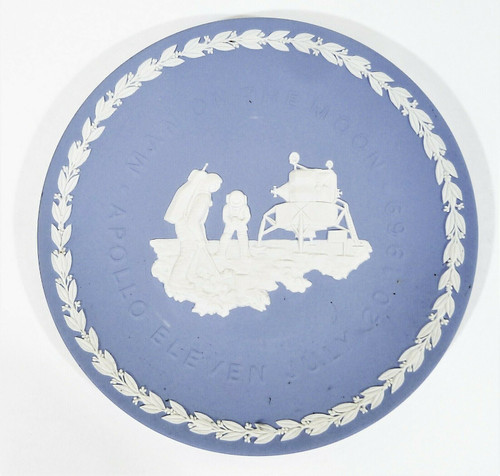 "Wedgwood Jasperware 8"" Collector's Plate Man on the Moon Apollo 11 July 20, 1969"