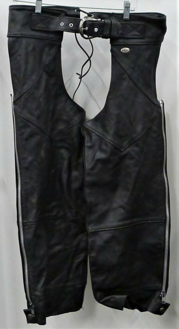 Harley Davidson Men's Black Leather Chaps Size M - **DIRT AND WEAR