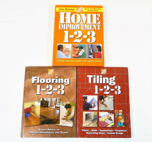 Set of 3 Home Depot 1-2-3 Hardback Books -Home Improvement, Tiling and Flooring
