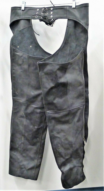 Himalaya Motor Bikewear Men's Black Leather Chaps Size L **DIRT AND WEAR