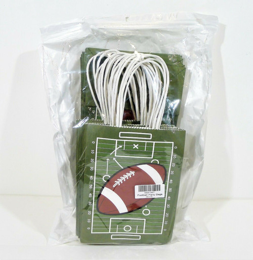 "Set of 24 Football Theme Gift Bag Set Size 8"" T x 6.25"" W x 3"" D - NEW"