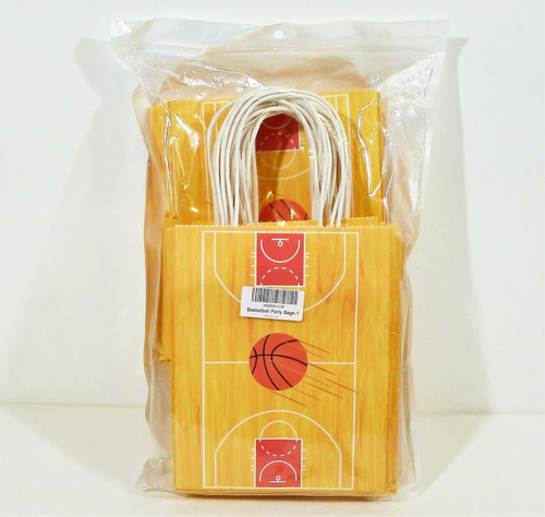 "Set of 24 Basketball Theme Gift Bag Set Size 8.5"" T x 6.75"" W x 3.75"" D - NEW"