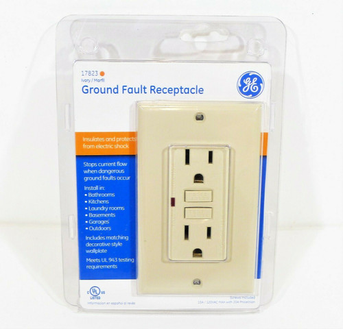 GE Ivory Ground Fault Receptacle with Wallplate 120V/15A 17823 - NEW SEALED