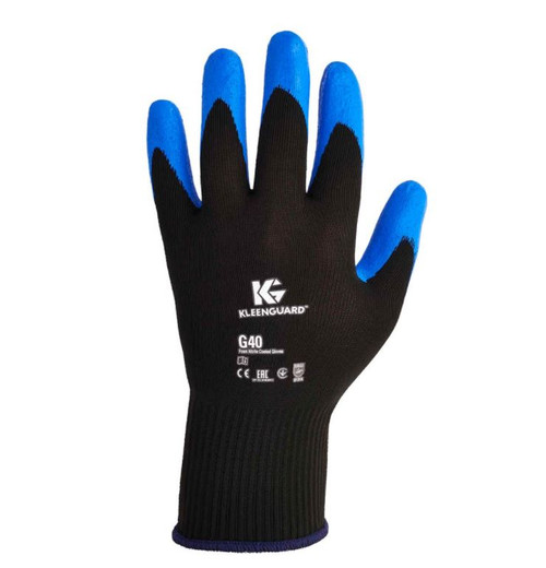 12 Pack Kimberly Clark Jackson G40 Black/Blue Foam Nitrile Coated Gloves Medium
