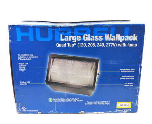 Hubbell Large Glass Wallpack Quad Tap Light 400W in Bronze  WGH400P  OPEN BOX