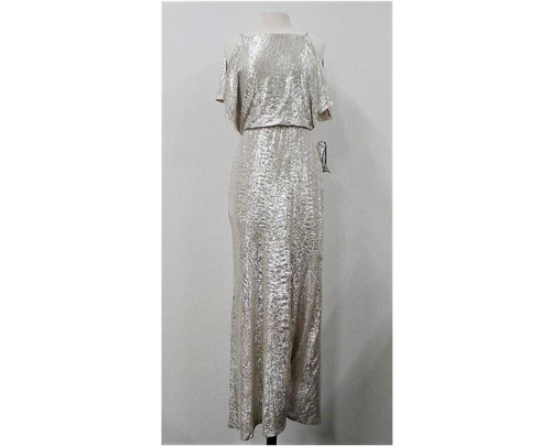 Lauren Ralph Lauren Gold Shimmery Strap Open Shoulder Dress Size 4