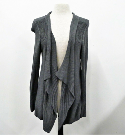 White House Black Market Heather Iron Gray LS Flounce Coverup Cardigan Size M