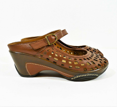 White Mountain Women's Brown Leather Marvy Mules Heels 603-W12297 Size 7 M