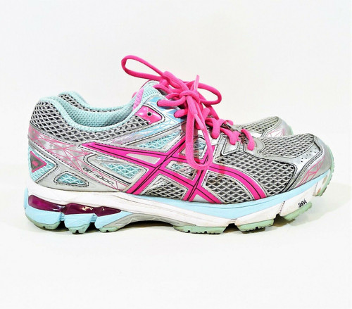 ASICS Women's Gray/Blue/Pink GT-1000 3 Running Shoes Size 7.5 0 T4K8N