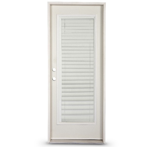 Full Lite Steel Pre-Hung Door With Mini Blinds