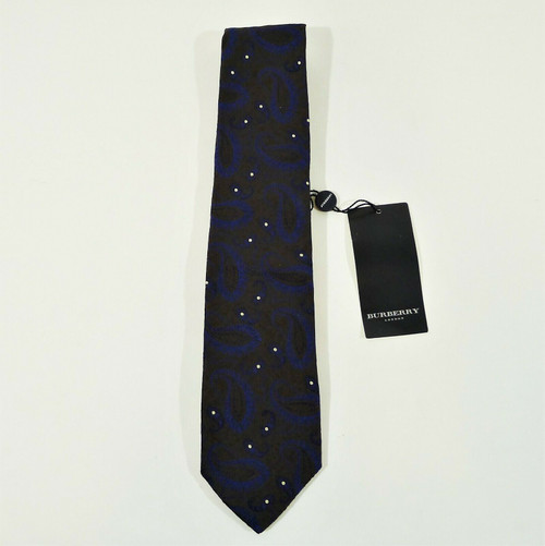 Burberry Black with Blue Paisley White Spots Pure Silk Tie - NEW WITH TAGS