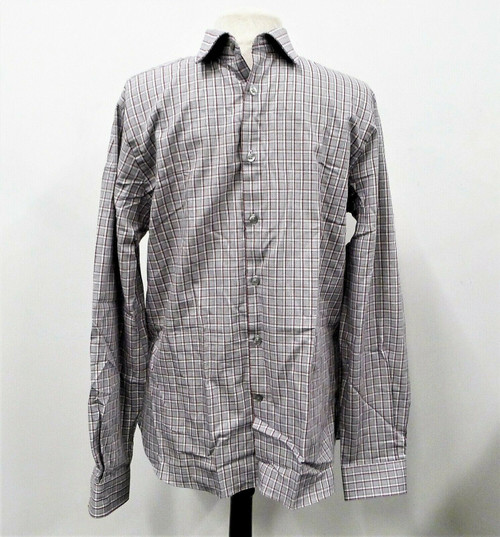 Michael Kors Gray/Maroon Plaid Slim Fit Long Sleeve Shirt Size 16 34/35 L