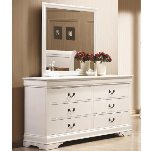 Louis Phillip White 6-Drawer Dresser with Mirror