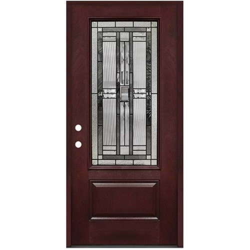 3/0 Decorative Glass 3/4 Lite Pre-finished Mahogany Fiberglass Door