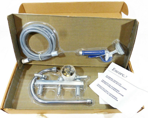 "Encore 8"" Deck Mount Mixing Gooseneck Faucet w/Aluminum Spray Head NEW OPEN BOX"