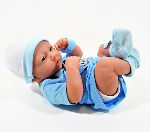 "JC Toys Realistic Newborn Baby Boy 15"" Doll *SMALL MARK ON LEG"