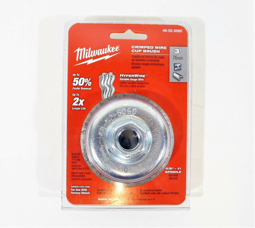 "Milwaukee 48-52-5060 Crimped Wire Cup Brush 3"" Carbon Steel Wire 5/8-11 Spindle"