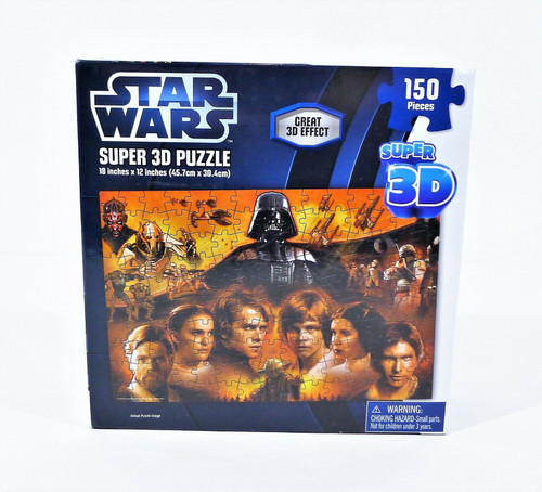 Star Wars Super 3D Puzzle 150 Pieces Luke Skywalker Darth Vader Yoda -NEW SEALED