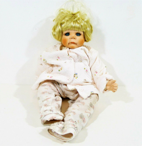 "18"" Porcelain and Cloth Doll Short Blonde Hair Blue Eyes Numbered 464 of 1500"