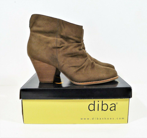 Diba Women's Olive Rung Faux Suede Ankle Boots Size 9.5 M