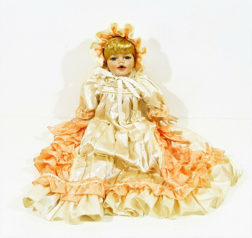 """18"""" Porcelain Doll with Cloth Body Blonde Hair Blue Eyes Long Dress and Bonnet"""