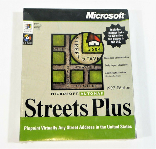 Microsoft Streets Plus 1997 Edition CD-ROM - NEW SEALED
