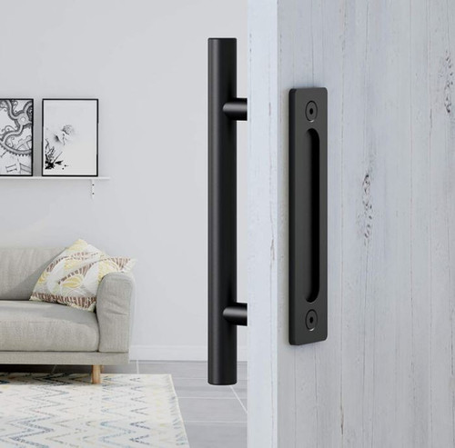 "FaithLand Black 12"" Heavy Duty Sliding Barn Pull and Flush Door Handle - NEW"