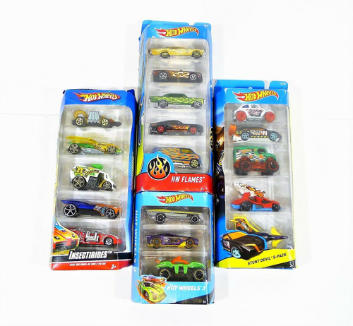 Set of 4 Packages of Hot Wheels Cars (18 Cars) HW Flames, Stunt Devil and More