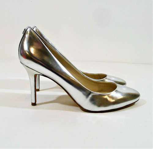 Coach Women's Silver Nala Mirror Metallic Heels Shoes Size 8M **SCUFF & SCRATCH
