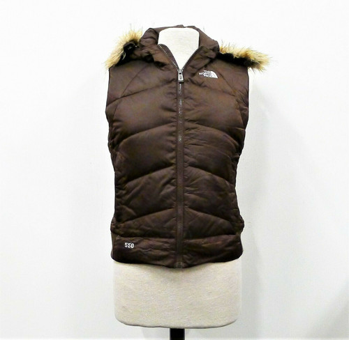 The North Face Women's Brown Puffer Hooded Faux Fur Trim Vest Size M