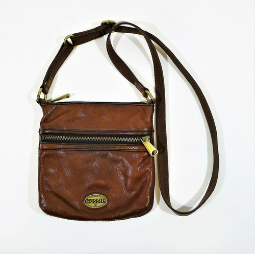 Fossil Women's Brown Leather Crossbody Purse - **SPOT/STAIN