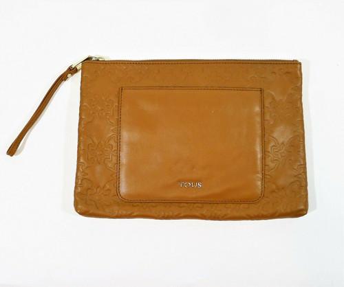 "Tous Women's Brown Leather Makeup Bag Clutch 8"" T x 12"" W"