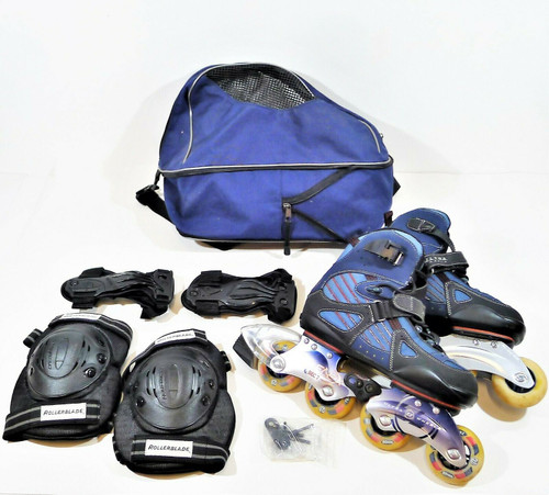 Ultra Wheels Men's BioFlex Bec 7 Rollerblades w/ Protective Gear and Bag Size 9