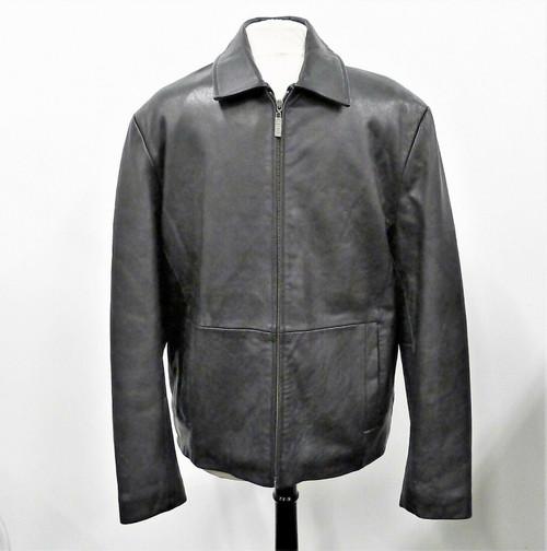 Izod Men's Black Leather Jacket Coat Size M